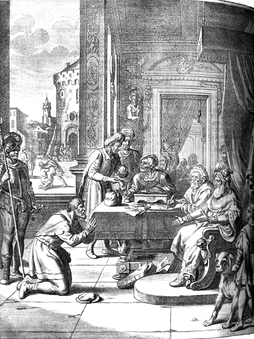 Matthias Scheit : The Parable of the Unmerciful Servant (17th century). The forgiven servant, foreground; the unmerciful servant, background.